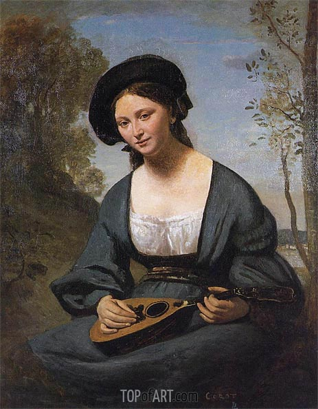 Woman in a Toque with a Mandolin, c.1850/55 | Corot | Gemälde Reproduktion