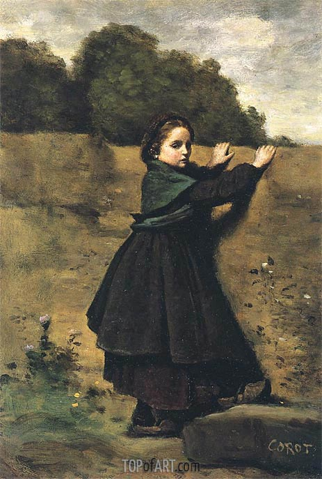 The Curious Lilttle Girl, c.1850/60 | Corot | Painting Reproduction