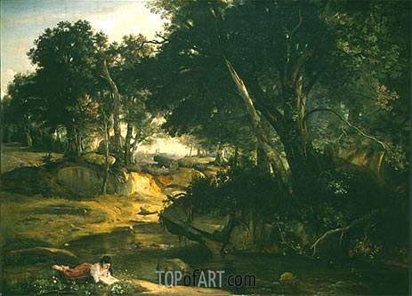 Forest of Fontainbleau, 1834 | Corot | Painting Reproduction