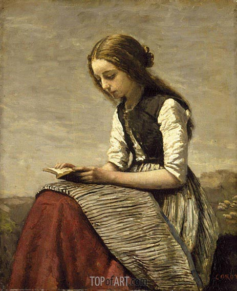 Girl Reading, c.1850/55 | Corot | Painting Reproduction