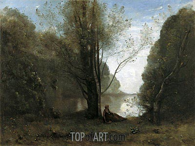 The Solitude. Recollection of Vigen, Limousin, 1866 | Corot | Painting Reproduction
