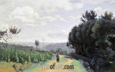 The Severes Hills - Le Chemin Troyon, undated | Corot | Painting Reproduction