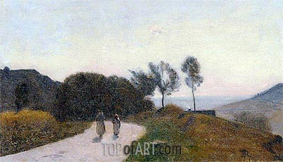 Corot | A Road in the Countryside, Near Lake Leman, c.1845/55