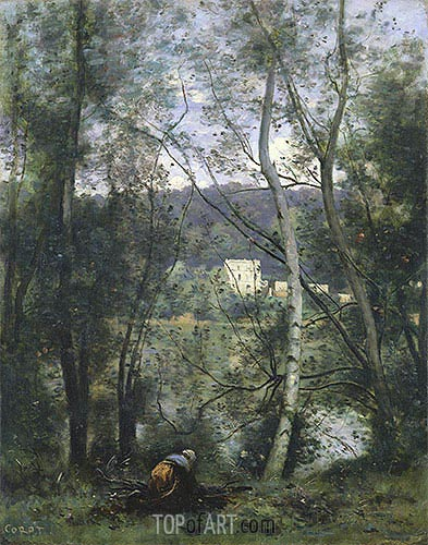 A Woman Gathering Faggots at Ville-d'Avray, c.1871/74 | Corot| Gemälde Reproduktion