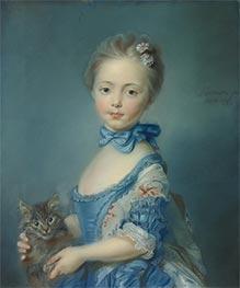 Ein Mädchen mit Kätzchen, 1743 von Jean-Baptiste Perronneau | Gemälde-Reproduktion