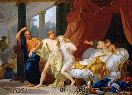 Socrates Dragging Alcibiades from the Arms of Voluptuous Pleasure, c.1791 | Baron Jean Baptiste Regnault | Painting Reproduction