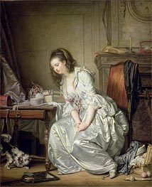 The Broken Mirror, c.1762/63 by Jean-Baptiste Greuze | Painting Reproduction