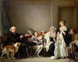 The Widow and Her Priest, undated by Jean-Baptiste Greuze | Painting Reproduction