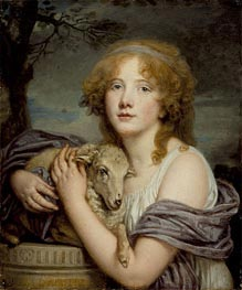 Girl with a Lamb | Jean-Baptiste Greuze | outdated