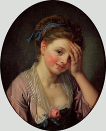 Young Girl with a Rose, undated by Jean-Baptiste Greuze | Painting Reproduction