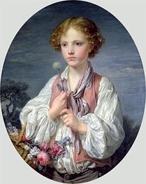 Young Boy with a Basket of Flowers, undated by Jean-Baptiste Greuze | Painting Reproduction