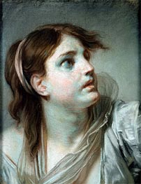 Head of a Young Girl, undated by Jean-Baptiste Greuze | Painting Reproduction
