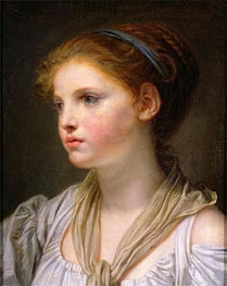 Girl with a Blue Ribbon, undated by Jean-Baptiste Greuze | Painting Reproduction