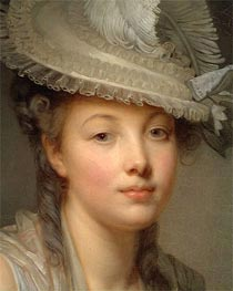 Young Woman in a White Hat (Detail), c.1780 by Jean-Baptiste Greuze | Painting Reproduction