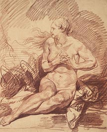 Seated Female Nude, undated by Jean-Baptiste Greuze | Painting Reproduction
