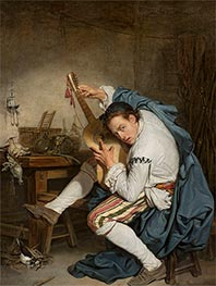 The Guitarist, c.1760 by Jean-Baptiste Greuze | Painting Reproduction