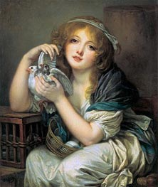 Girl with Doves, c.1799/00 by Jean-Baptiste Greuze | Painting Reproduction