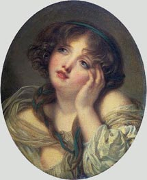 Girl Leaning on Her Hand, c.1750/99 by Jean-Baptiste Greuze | Painting Reproduction