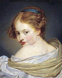 Portrait of a Young Woman, undated by Jean-Baptiste Greuze | Painting Reproduction