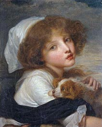 Young Girl with a Spaniel, undated by Jean-Baptiste Greuze | Painting Reproduction