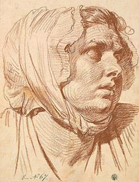 Head of a Woman in a Night Cap, 1772 by Jean-Baptiste Greuze | Painting Reproduction