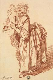 Study of a Standing Girl, 1765 by Jean-Baptiste Greuze | Painting Reproduction