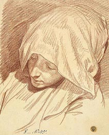 Head of a Woman in a Hood, c.1760/70 by Jean-Baptiste Greuze | Painting Reproduction