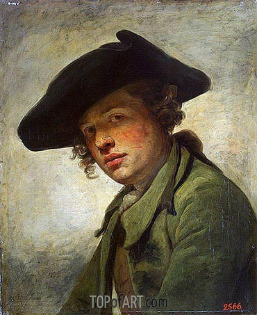 A Young Man in a Hat, c.1750 | Jean-Baptiste Greuze| Painting Reproduction