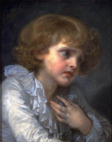 Head of a Young Boy (Tete d'un Garcon), undated | Jean-Baptiste Greuze| Painting Reproduction