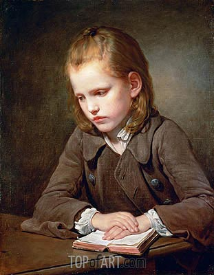 A Boy with a Lesson Book, 1757 | Jean-Baptiste Greuze| Gemälde Reproduktion