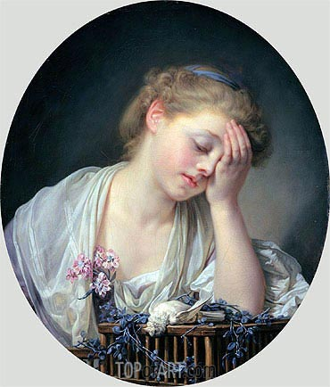 Jean-Baptiste Greuze | Girl Weeping over her Dead Canary, c.1765