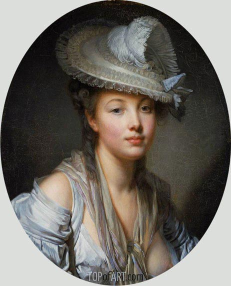 Young Woman in a White Hat, c.1780 | Jean-Baptiste Greuze| Painting Reproduction