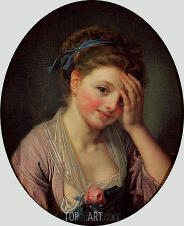 Young Girl with a Rose, undated | Jean-Baptiste Greuze | Gemälde Reproduktion