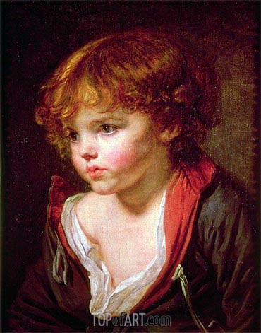 A Blond Haired Boy with an Open Shirt, undated | Jean-Baptiste Greuze| Painting Reproduction