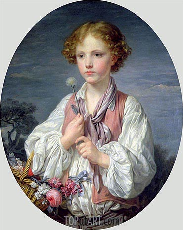 Young Boy with a Basket of Flowers, undated | Jean-Baptiste Greuze | Painting Reproduction