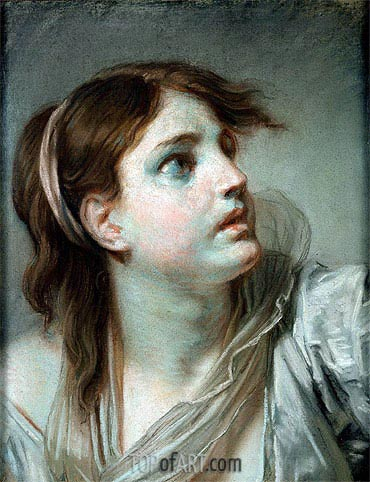 Jean-Baptiste Greuze | Head of a Young Girl, undated