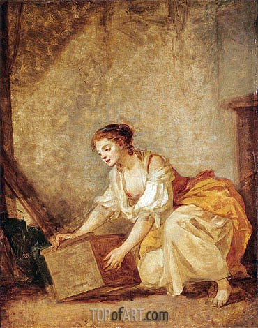 A Young Girl Lifting a Chest, undated | Jean-Baptiste Greuze| Gemälde Reproduktion