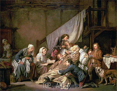 The Paralytic (Filial Piety), 1763 | Jean-Baptiste Greuze| Painting Reproduction