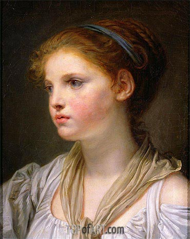Girl with a Blue Ribbon, undated | Jean-Baptiste Greuze| Painting Reproduction