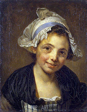 Head of a Young Girl in a Bonnet, c.1760/68 | Jean-Baptiste Greuze| Painting Reproduction