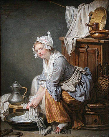 The Laundress, 1761 | Jean-Baptiste Greuze | Gemälde Reproduktion