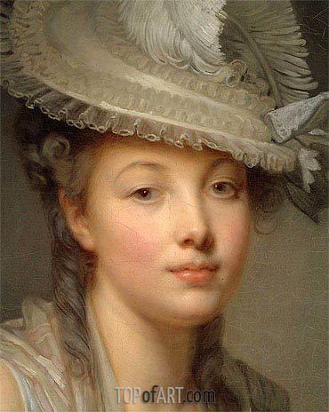 Young Woman in a White Hat (Detail), c.1780 | Jean-Baptiste Greuze| Painting Reproduction