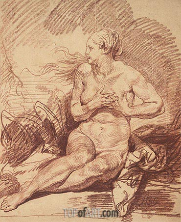 Seated Female Nude, undated | Jean-Baptiste Greuze | Painting Reproduction