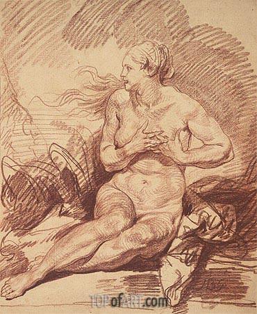 Jean-Baptiste Greuze | Seated Female Nude, undated