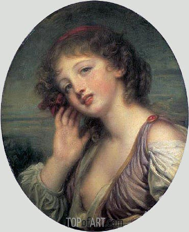 The Listening Girl, c.1780/90 | Jean-Baptiste Greuze | Gemälde Reproduktion