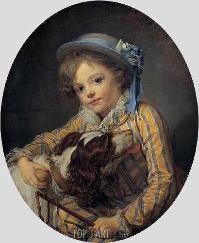 Boy with a Dog, c.1760 | Jean-Baptiste Greuze| Painting Reproduction