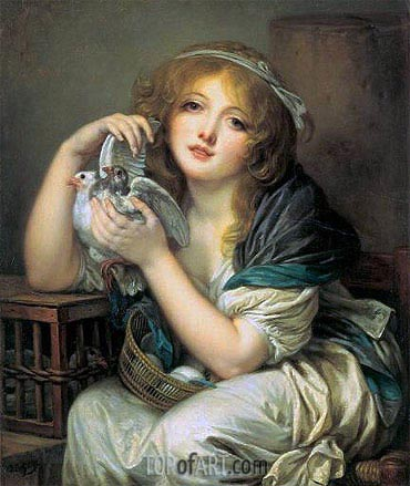 Girl with Doves, c.1799/00 | Jean-Baptiste Greuze | Gemälde Reproduktion