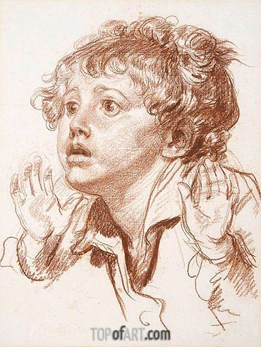 Head of a Startled Boy, undated | Jean-Baptiste Greuze| Painting Reproduction