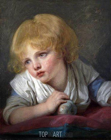 A Child with an Apple, undated | Jean-Baptiste Greuze | Painting Reproduction