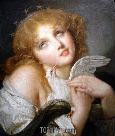 Voluptuousness (Girl with Dove), 1790 | Jean-Baptiste Greuze| Painting Reproduction